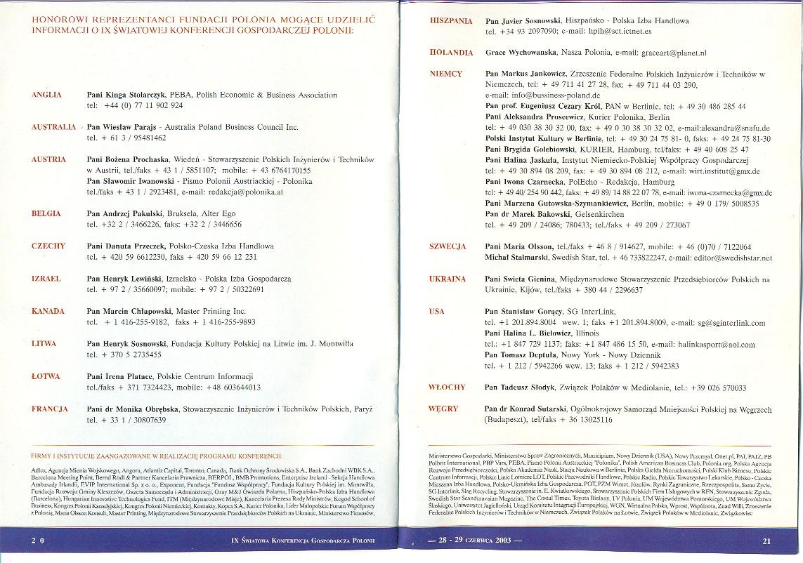 Ehrenamtliche Vertreter der Stiftung Polonia, die über die 9. Weltwirtschaftskonferenz der Auslandspolen Informationen erteilen können